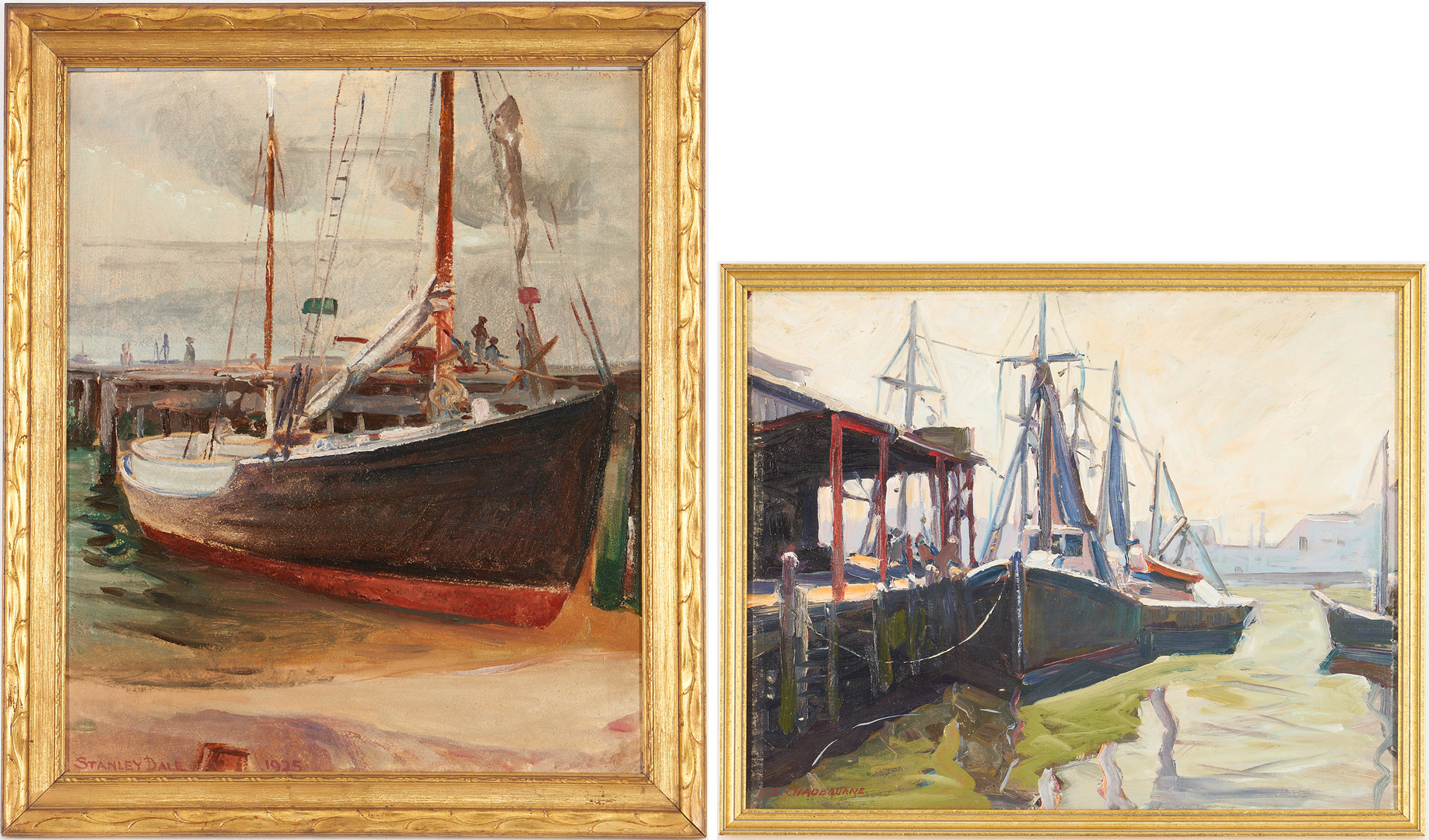 Lot 793: 2 American O/B Marine Paintings, incl. Lester Chadbourne, Stanley Dale