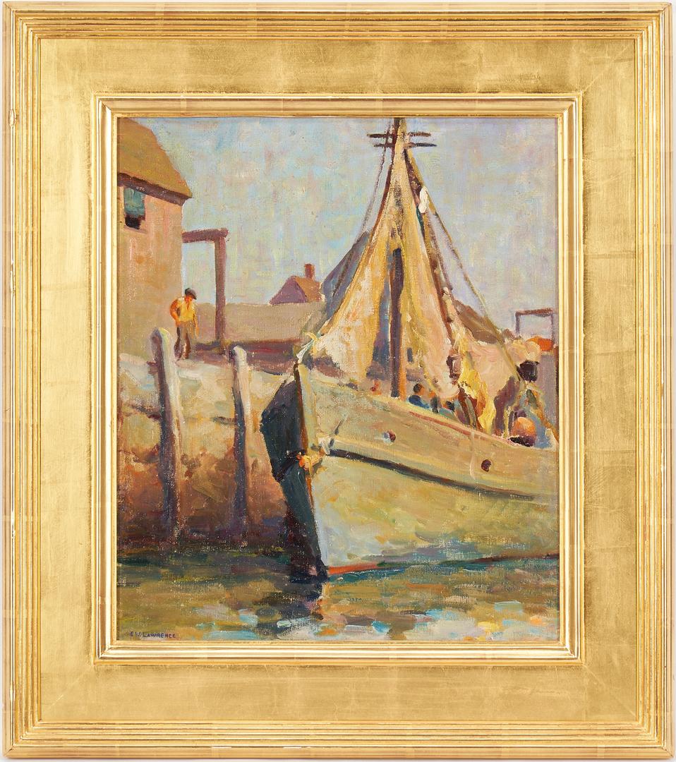 Lot 794: Edna Lawrence O/B Marine Painting, Harbor Scene