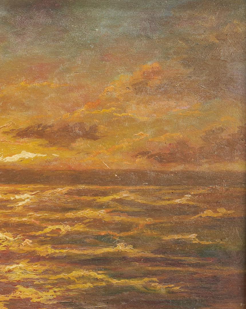 Lot 801: Edwin Gardner O/B Seascape Paintings plus Self Portrait Drawing, 3 items