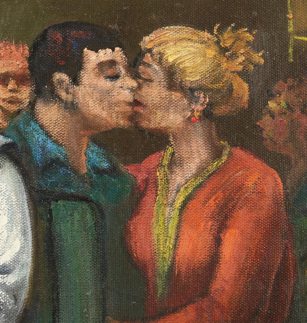 Lot 804: Albert Pels O/B Painting, People in a Waiting Room
