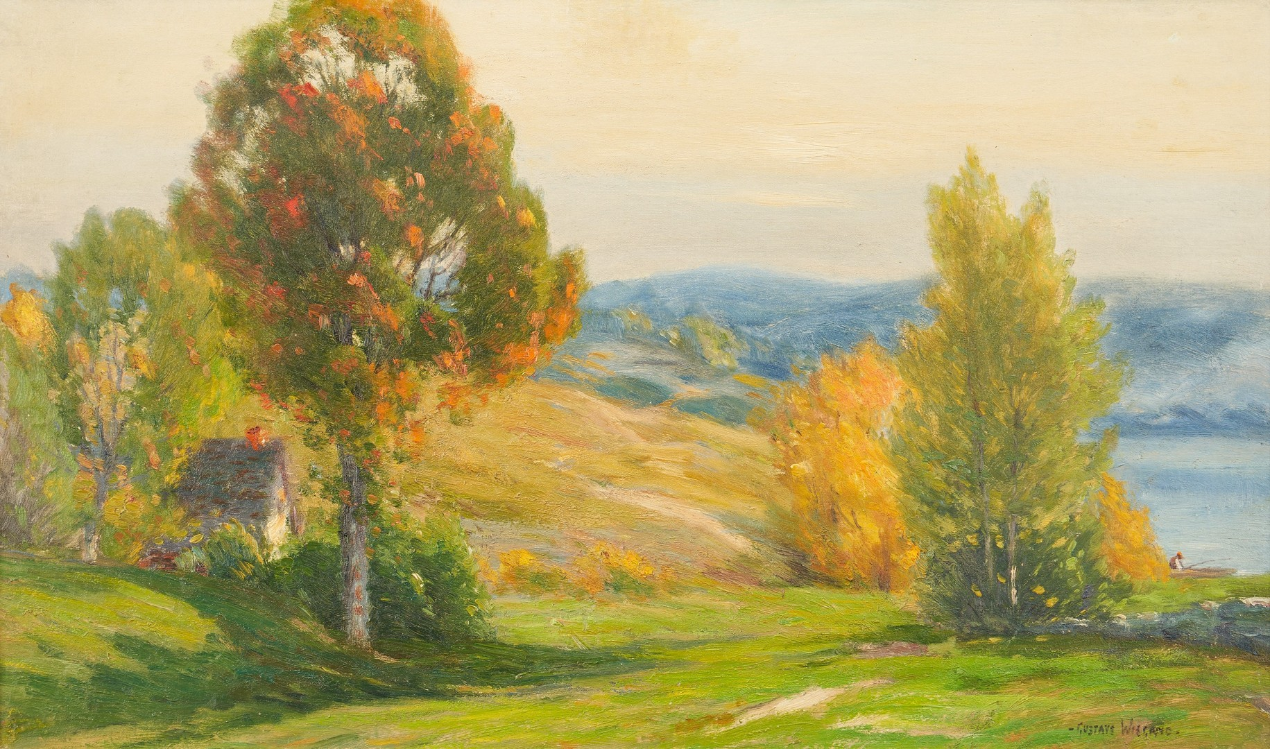 Lot 809: Gustav Weigand O/C Landscape Painting, Early Autumn Color