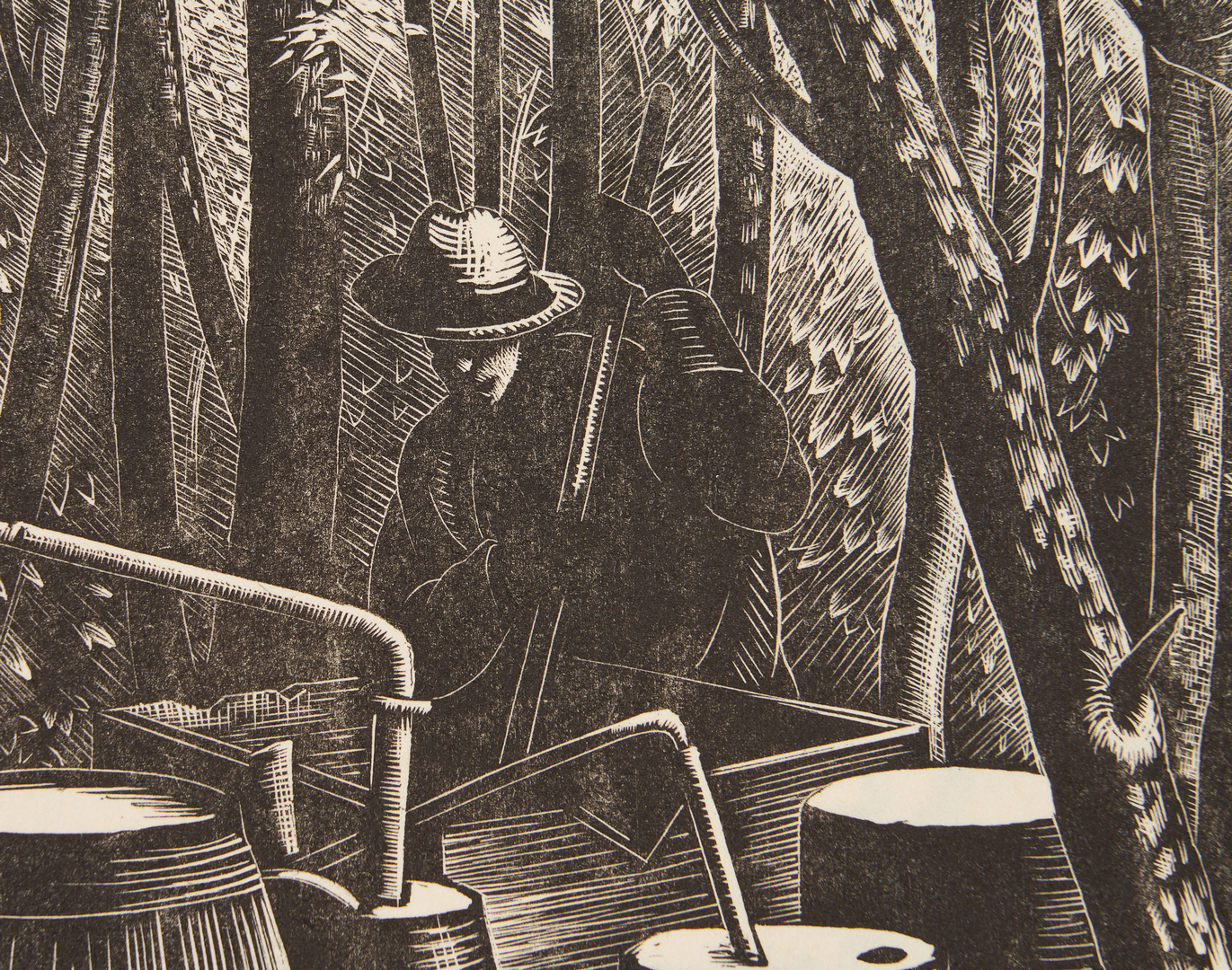 Lot 813: Clare Leighton Wood Engraving, Moonshine Still, North Carolina