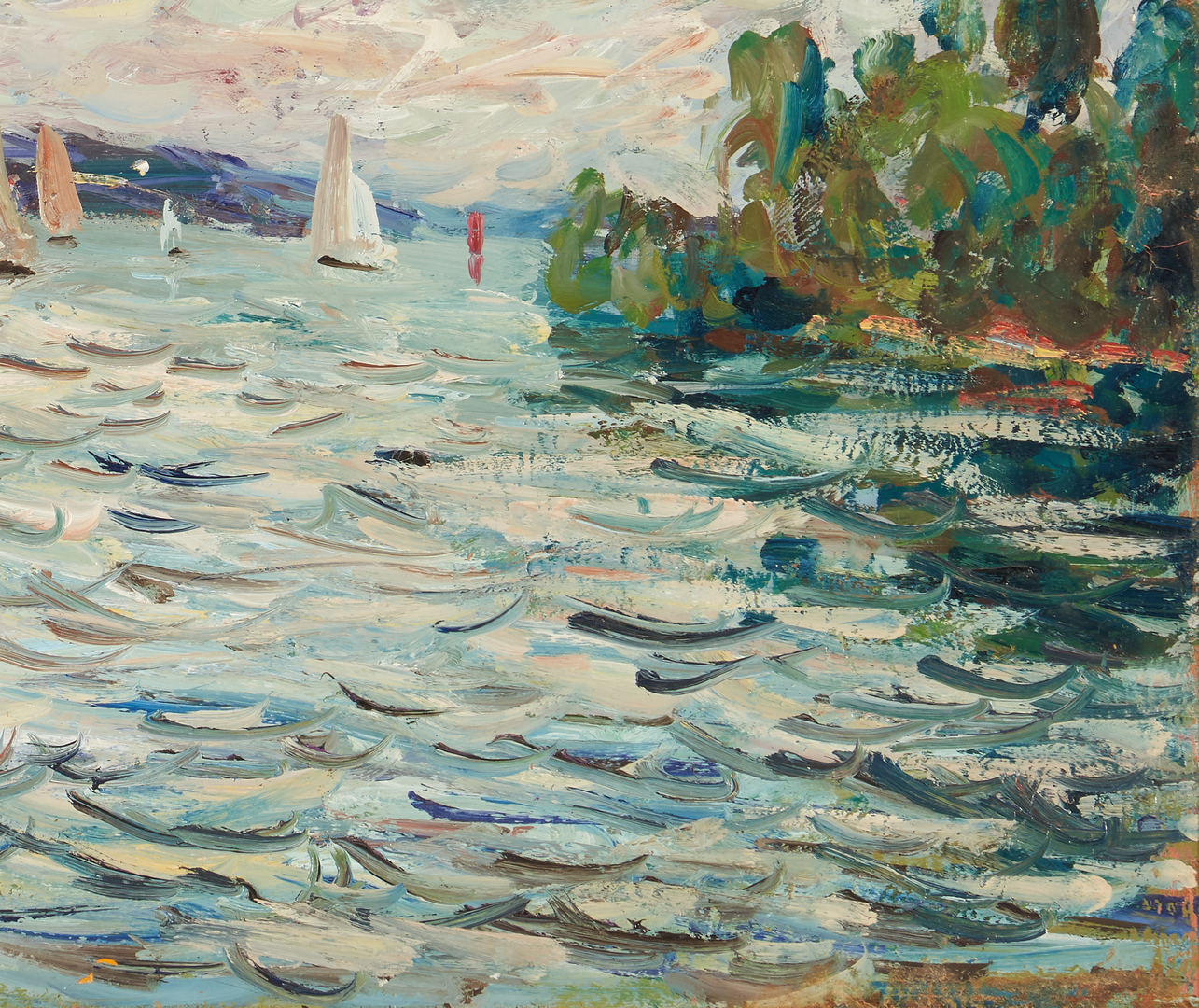 Lot 823: Georges Ferro Lagree O/C, Marine Painting