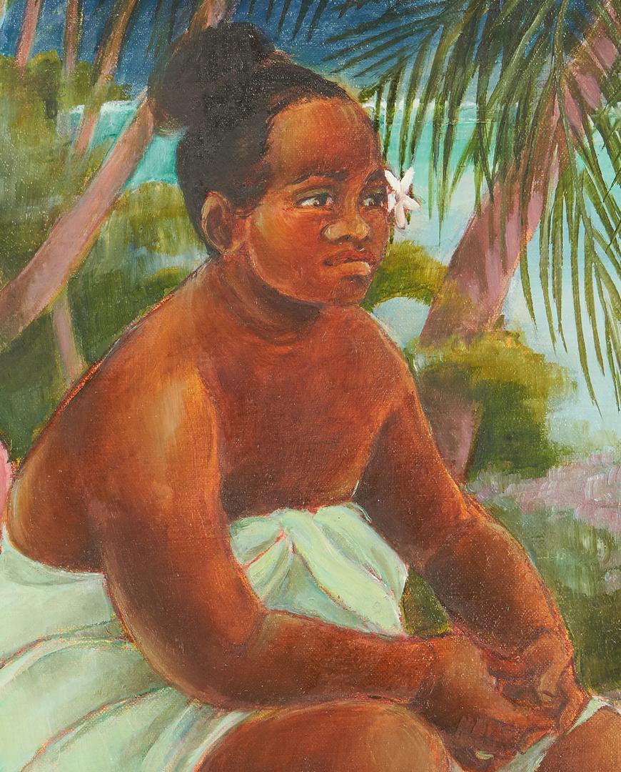 Lot 825: Jean Shelsher O/P French Polynesian Painting, Moorea