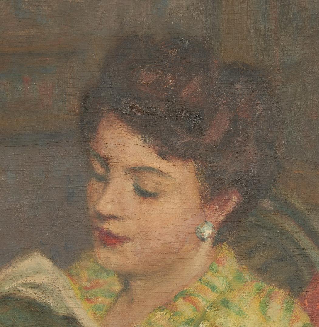 Lot 826: Jacques Weismann O/B, Portrait of a Woman Reading