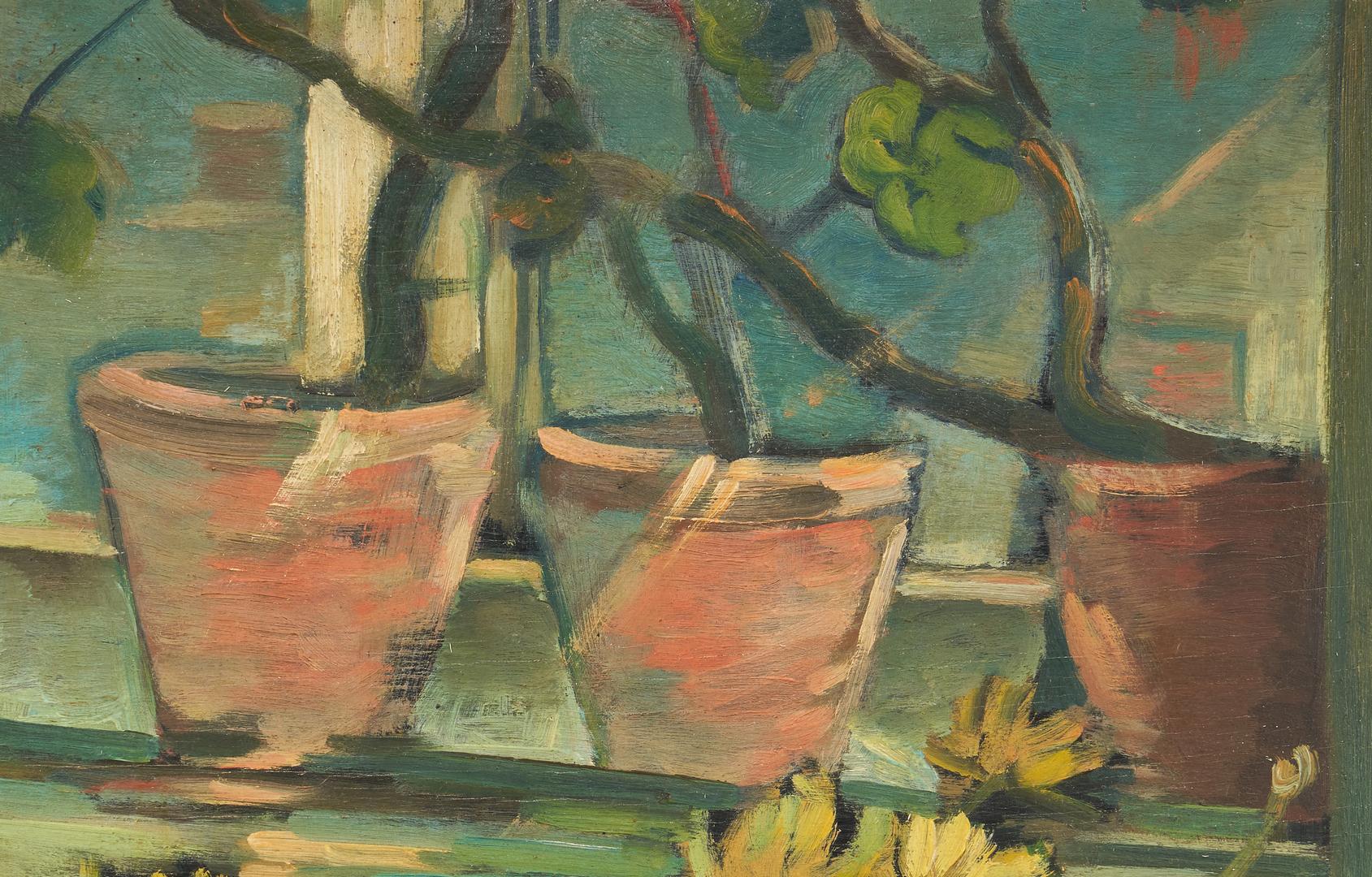 Lot 828: Attr. Jaroslav Herbst, O/B Still Life Painting, Flowers in Kettle