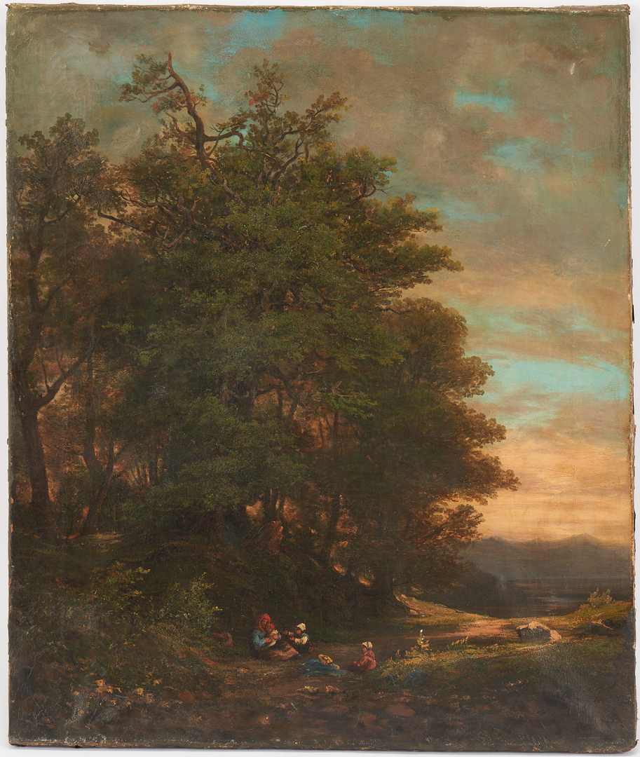 Lot 829: European School O/C Painting, Mother & Children in a Landscape