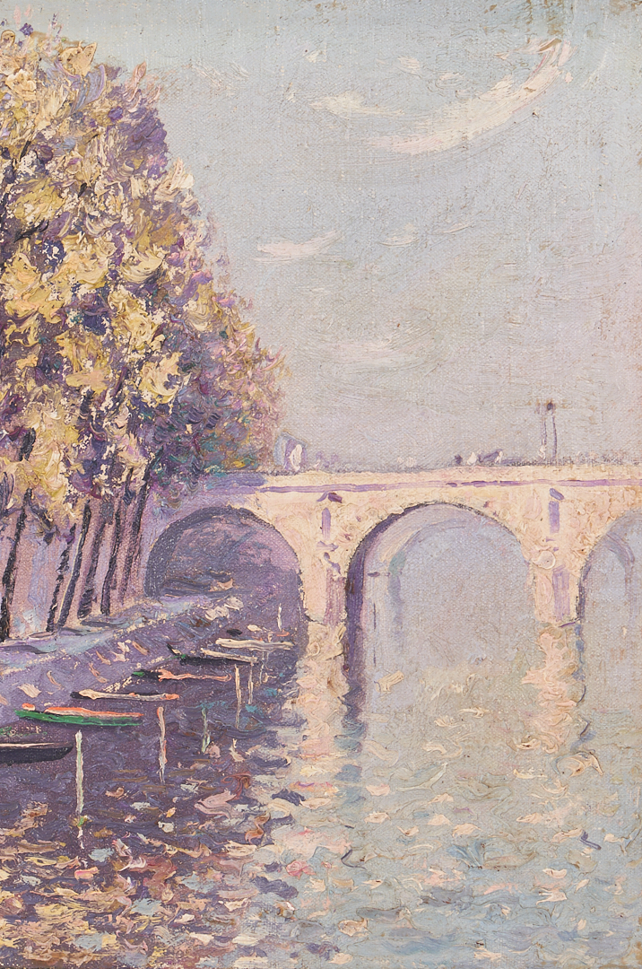 Lot 832: Norman Lloyd O/C Painting, Parisian Bridge