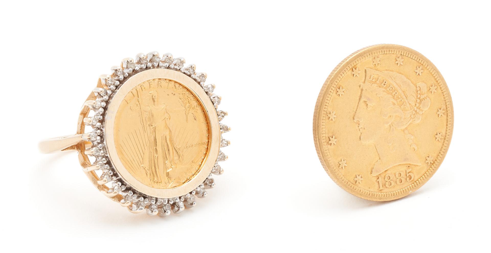 Lot 835: 2 $5 US Mint Gold Coins, incl. 1885 Liberty Head, 1986 American Eagle