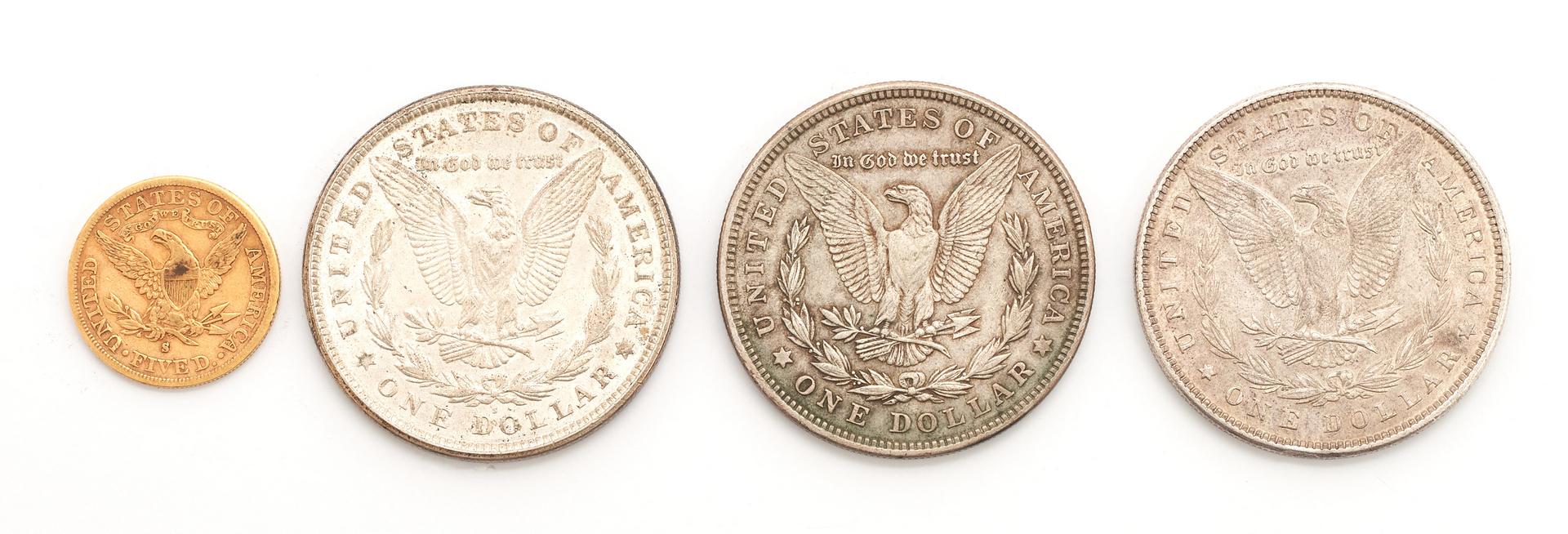Lot 836: 1881 $5 Liberty Gold Coin & 3 Morgans, 4 items