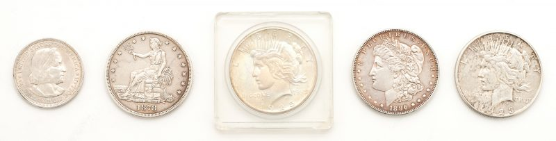 Lot 837: 5 US Mint Silver Coins, incl. 1878 Trade Dollar