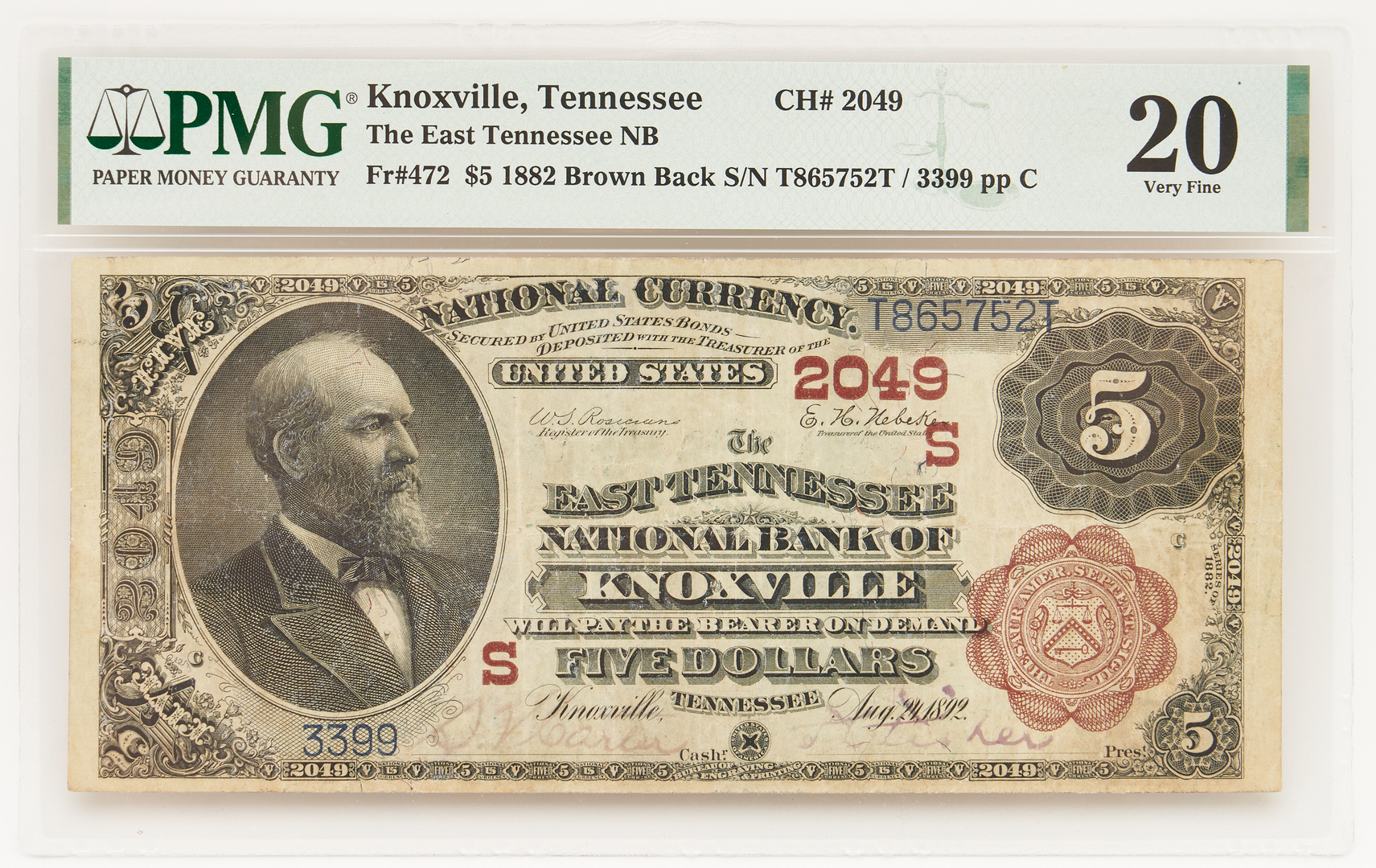 Lot 838: 1882 $5 Brown Back, The East Tennessee National Bank of Knoxville