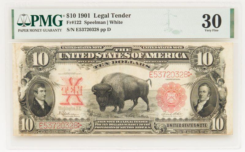 """Lot 839: 1901 $10 """"Bison"""" Legal Tender Note, FR # 122"""