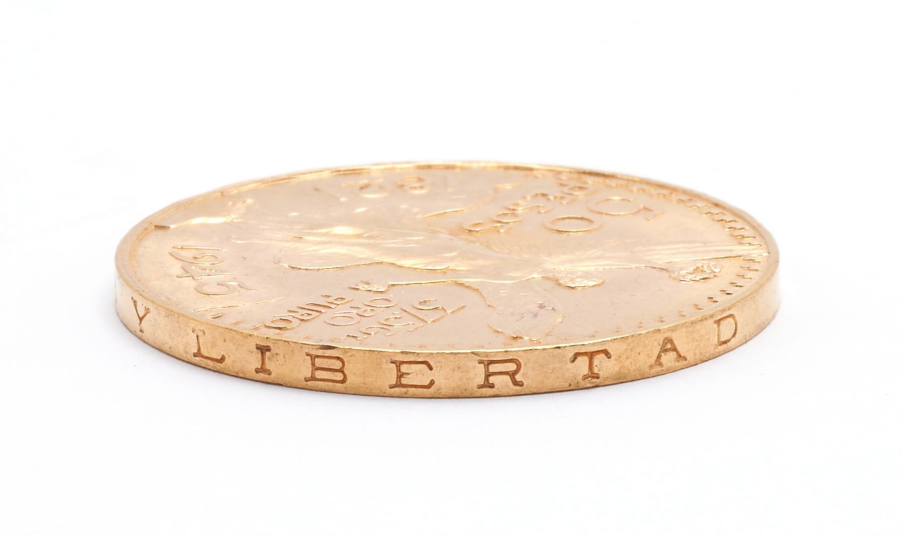 Lot 841: 1945 Mexico 50 Pesos Gold Coin, Centenario