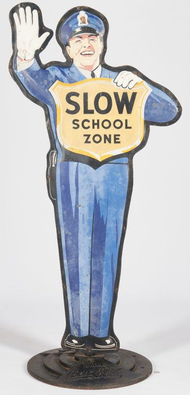 Lot 843: Coca Cola Police Crossing Guard Advertising Sign