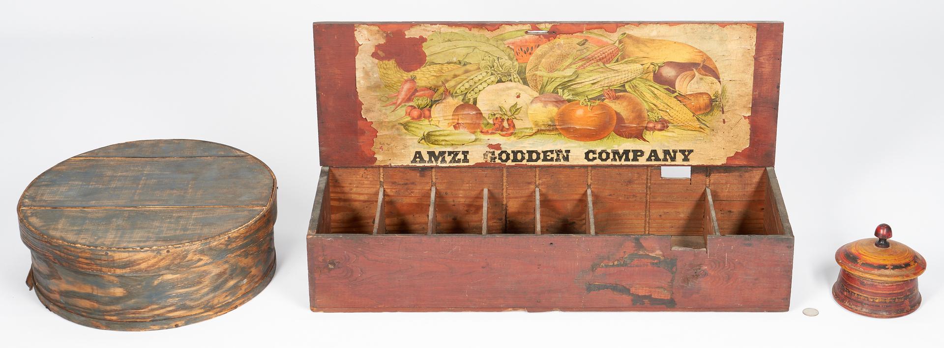 Lot 848: 3 Primitive Boxes, incl. Alabama Seed Box, Pantry Box, & Round Box