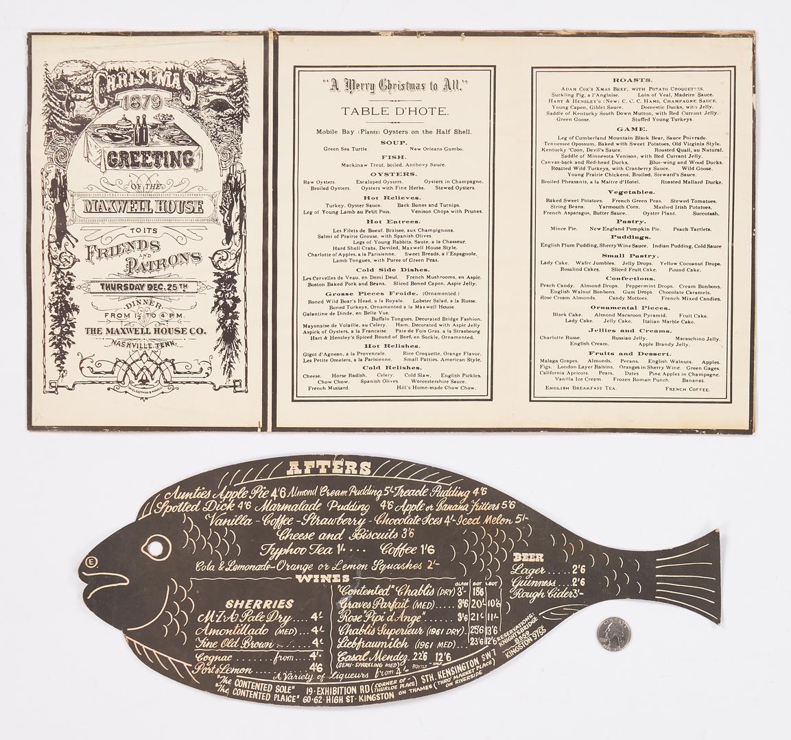 Lot 849: Nashville Maxwell House Hotel Menu + English Fish Menu, 3 items
