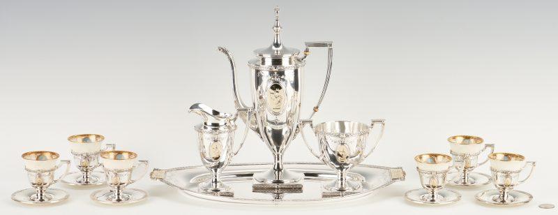 Lot 84: Pompeiian Sterling Silver Tea & Demitasse Cup Set, 22 pcs.
