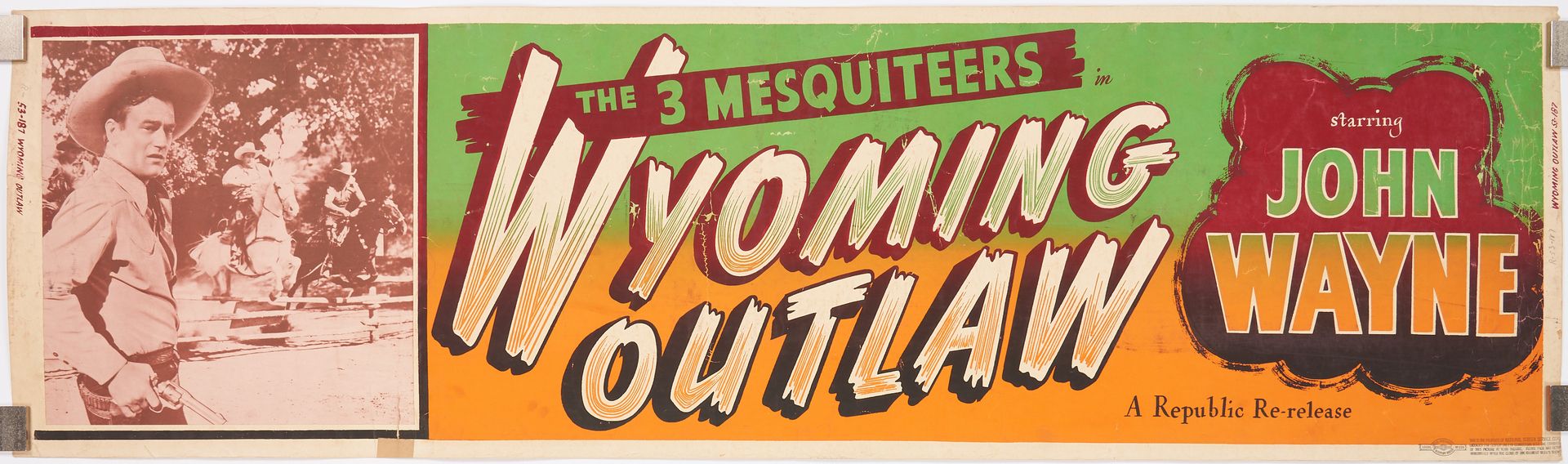 Lot 852: Early John Wayne Movie Poster, Wyoming Outlaw