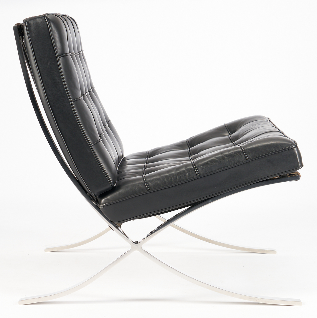 Lot 854: Pair Labeled Knoll Barcelona Chairs, Mies Van de Rohe