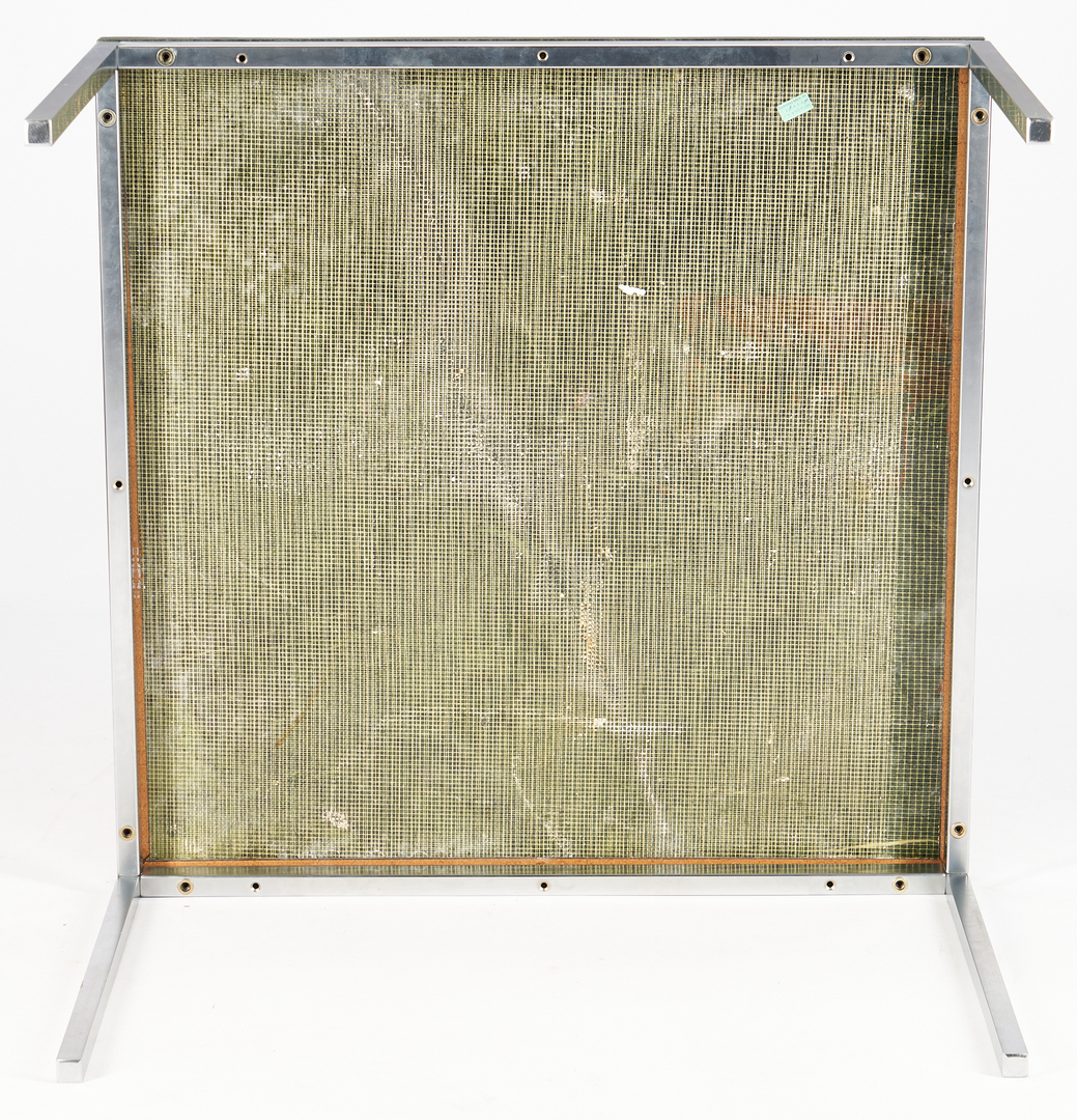"""Lot 859: Green marble and chrome table, poss. Knoll, 30"""" sq"""