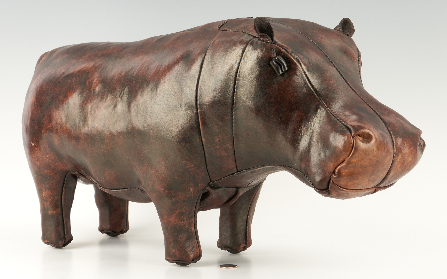 Lot 864: Leather Hippo Foot Stool, Attrib. to Dmitri Omersa