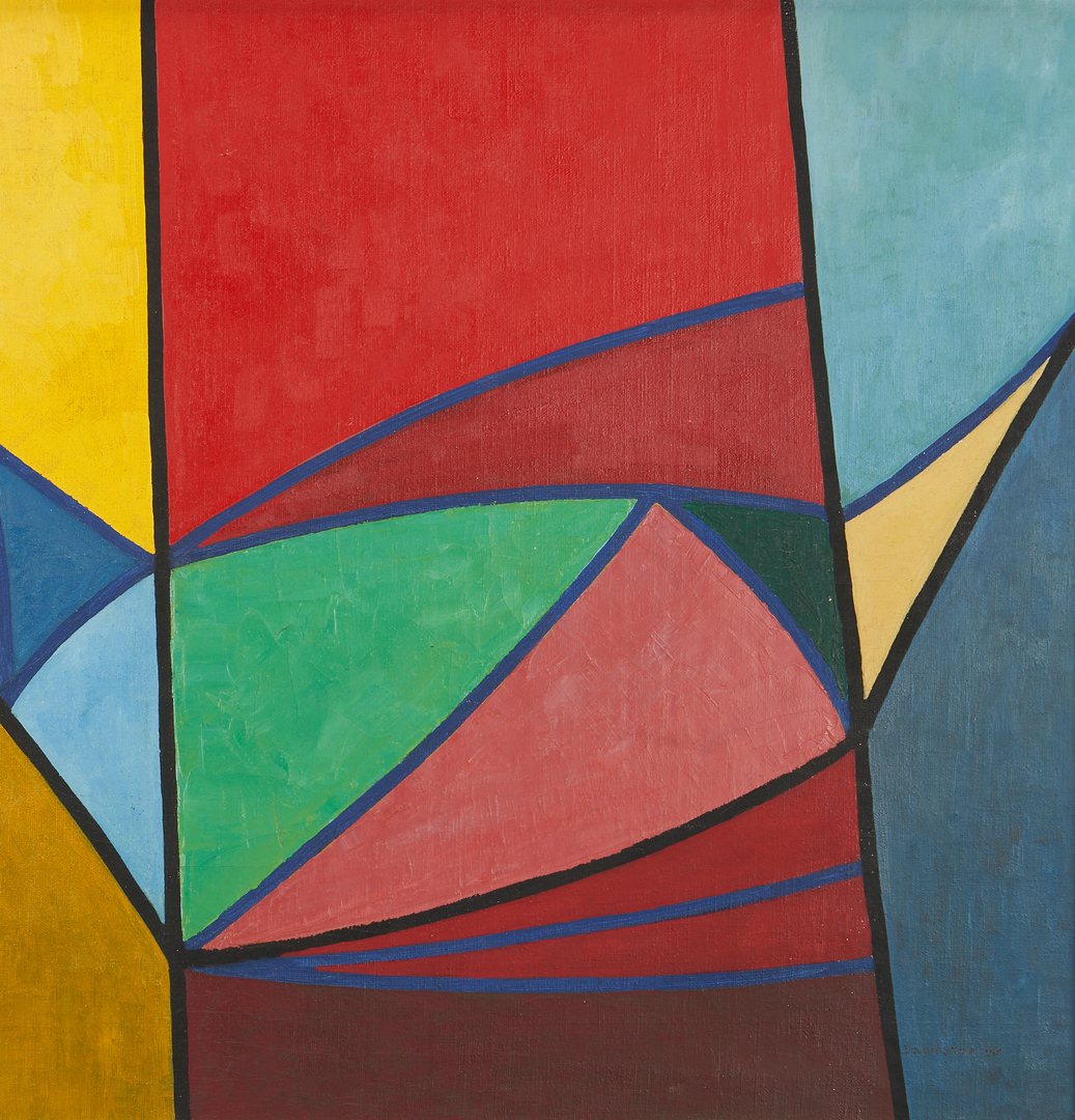Lot 868: Douglas Denniston Abstract O/C Painting, Bird and Fish
