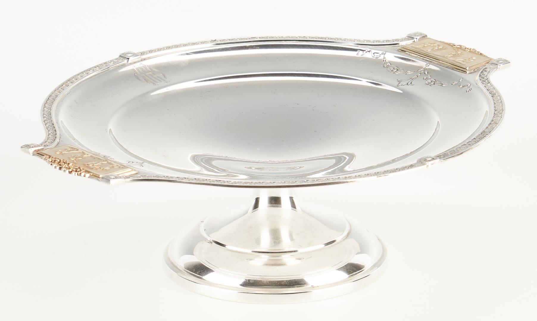 Lot 86: Pompeiian Silver Tazza, Bread Plates, Salts, Menu Holders,  21 pcs