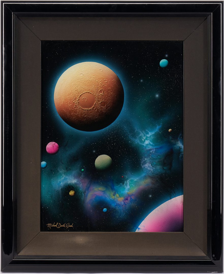 Lot 870: Michael David Ward Reverse Glass Painting, Lunar Gold