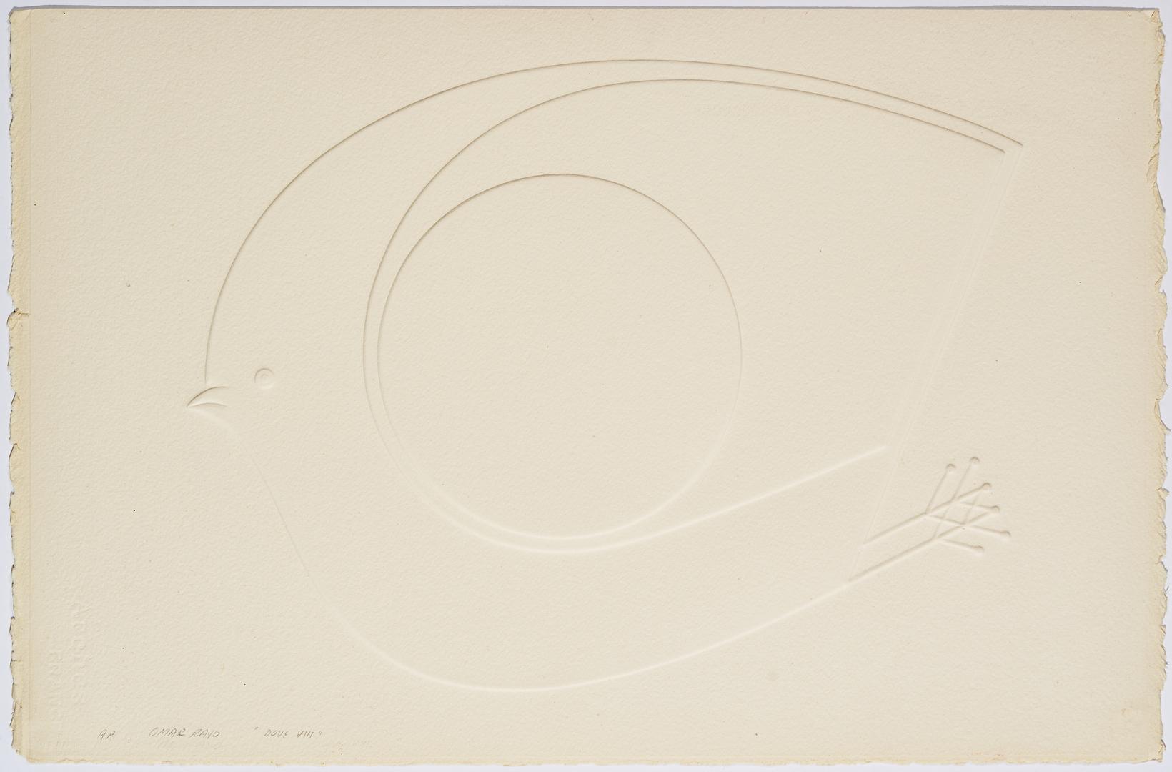Lot 875: 2 Omar Rayo Intaglio Prints, Felino & Dove VIII