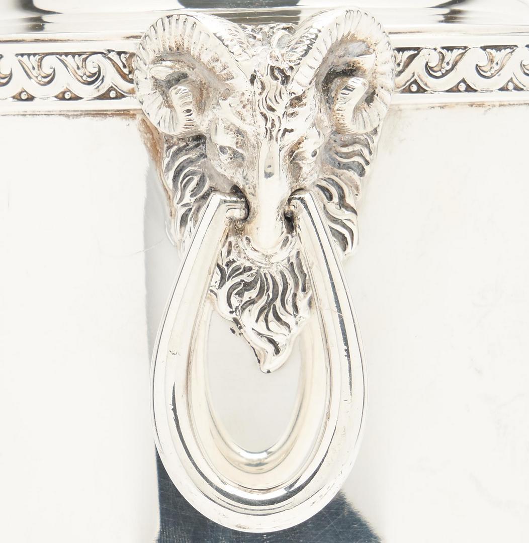 Lot 87: Pair Pompeiian Sterling Silver Urns, Parcel Gilt