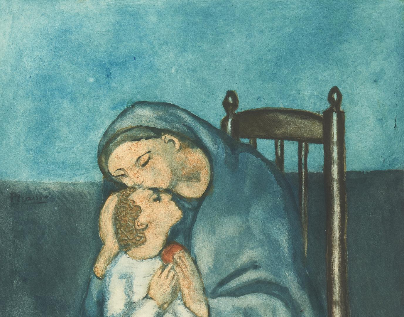 Lot 883: 2 J. Villon aquatints, Picasso and Modigliani, Mothers and Children