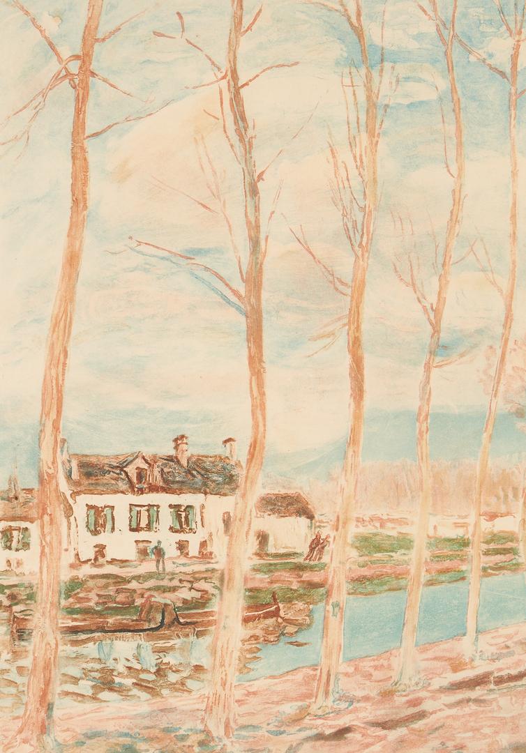 Lot 885: 2 Aquatints, Alfred Sisley & J. Villon, Canal & Beach Scenes