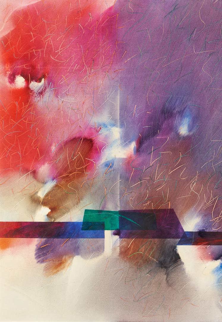 Lot 890: Exhibited Wattana Wattanapun Oil Painting, Purple Diffusion