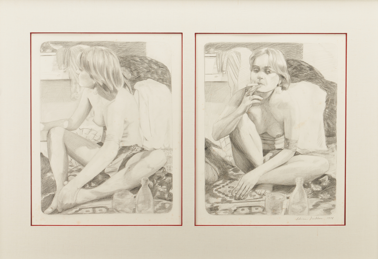Lot 891: 2 Adrian Deckbar (Louisiana) Drawings, Taking a Break & Study for Dancing
