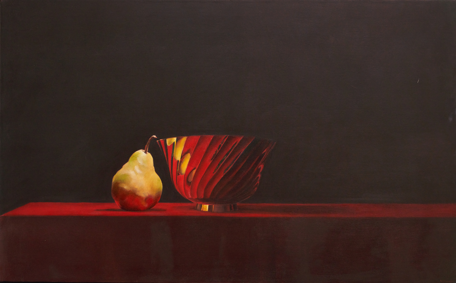 Lot 892: Ray Kleinlein O/C Still Life with Pear & Gold Bowl