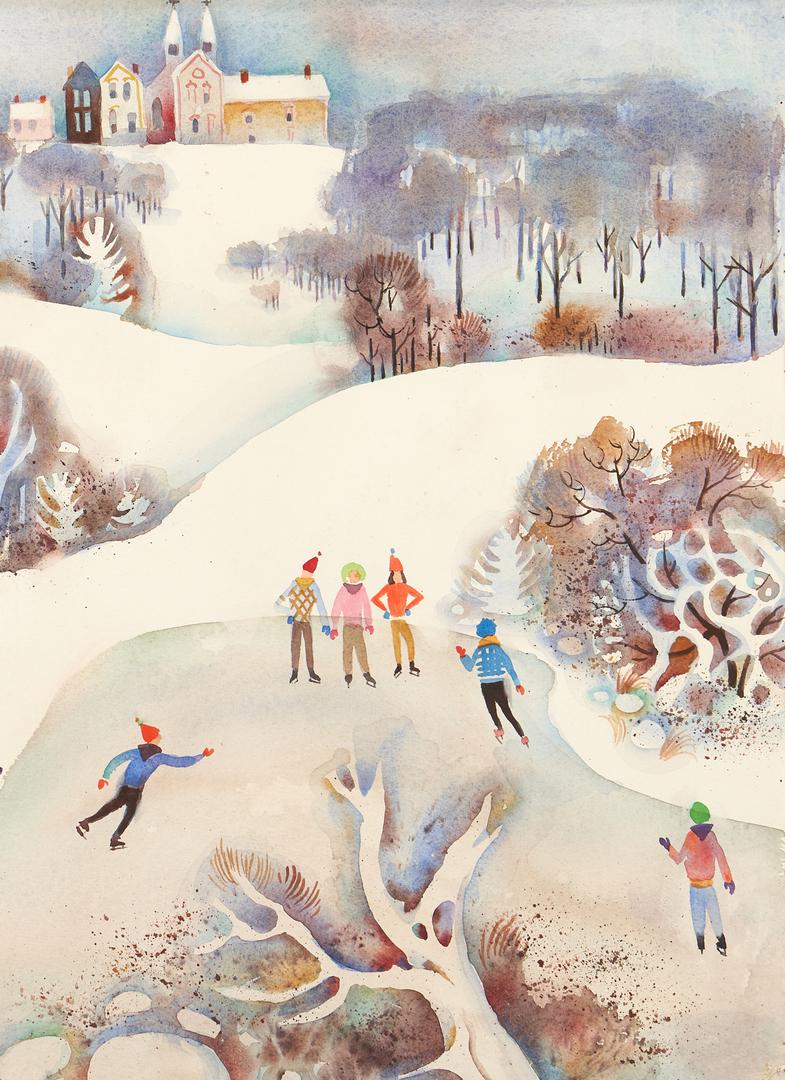 Lot 894: Exhibited John Richardson W/C Winter Scene Painting, Skaters
