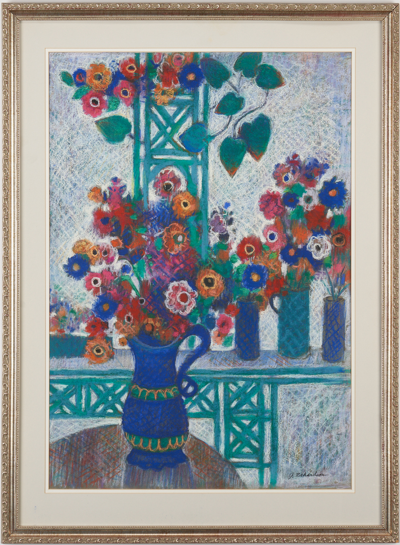 Lot 895: John Richardson Abstract Painting and Pastel, Florist Shop – 2 works