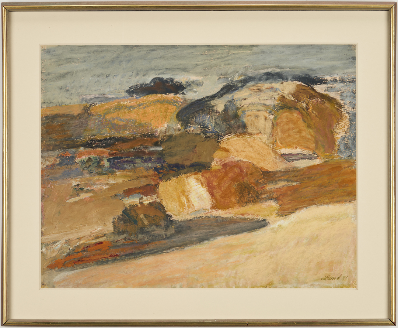 Lot 900: David Lund Abstract Pastel, Forms Along the Beach