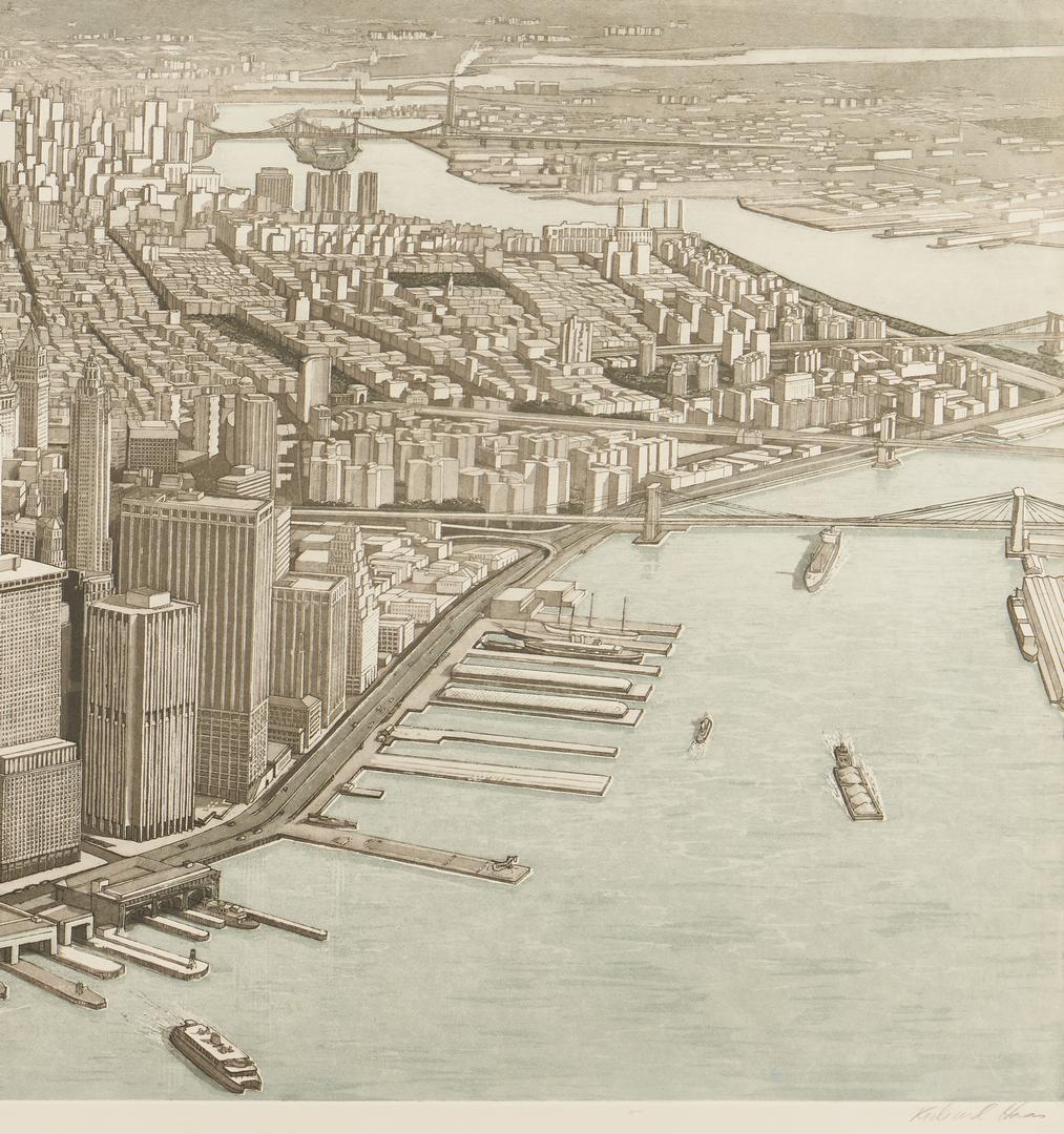 Lot 902: Richard Haas Photo Etching, Manhattan View, Battery Park