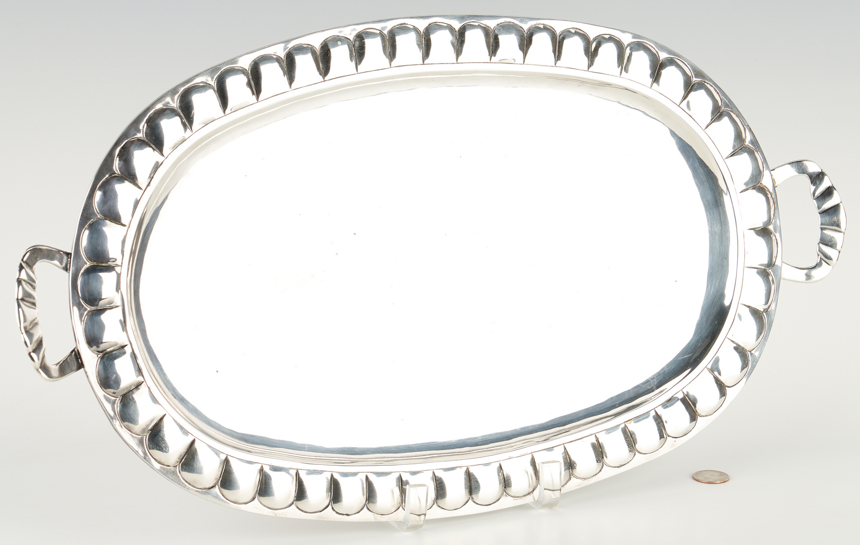 Lot 904: Mexican Ortega Sterling Silver Tray