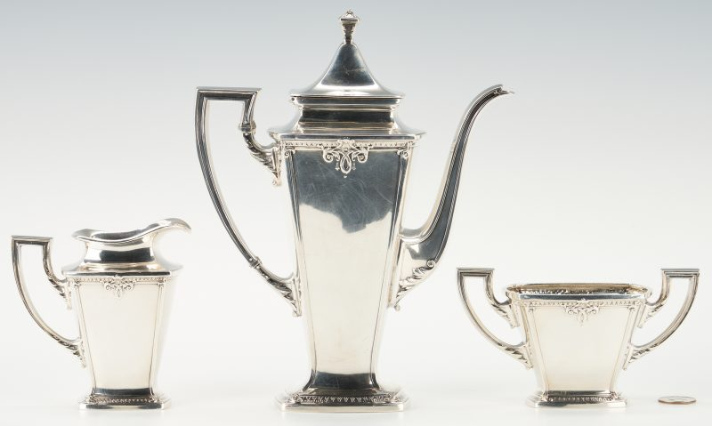 Lot 907: 3 Pcs. International Trianon Pattern Sterling Silver Tea Set
