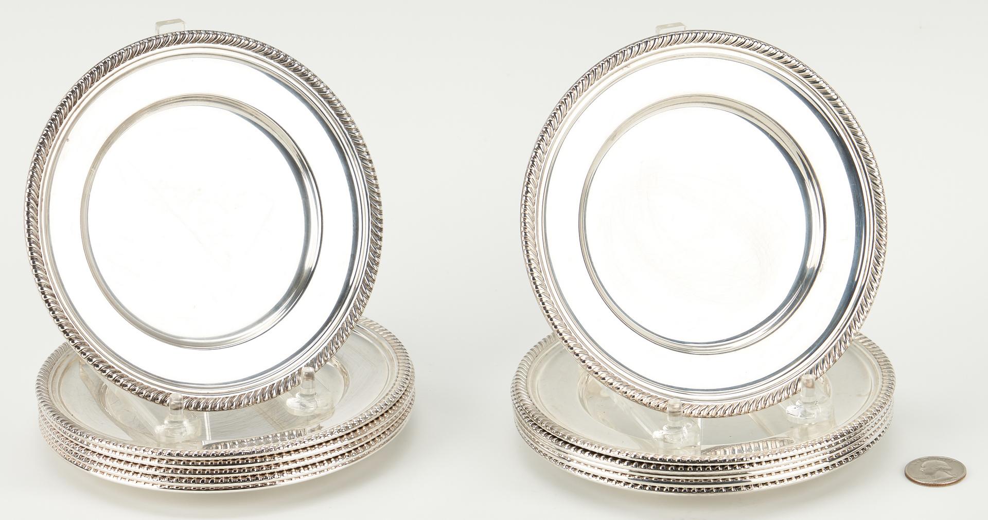 Lot 908: 12 Gorham Sterling Silver  Bread Plates