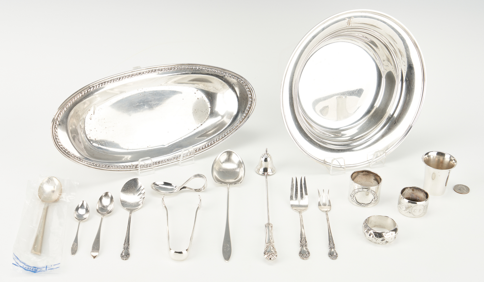 Lot 909: 17 Pcs. Assorted Sterling & Coin Silver