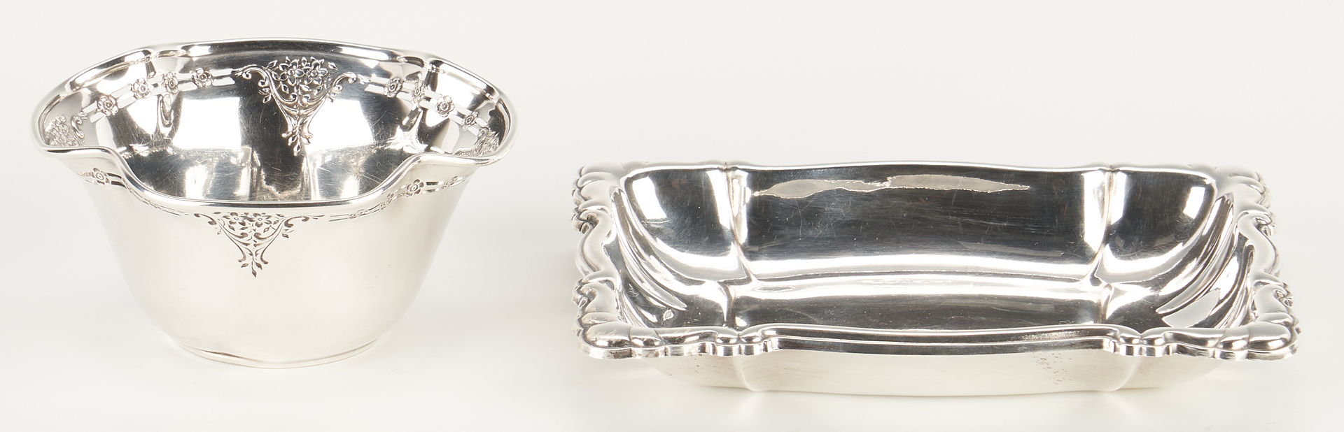 Lot 913: Large Sterling oval large dish, coasters and more, 25 pcs.