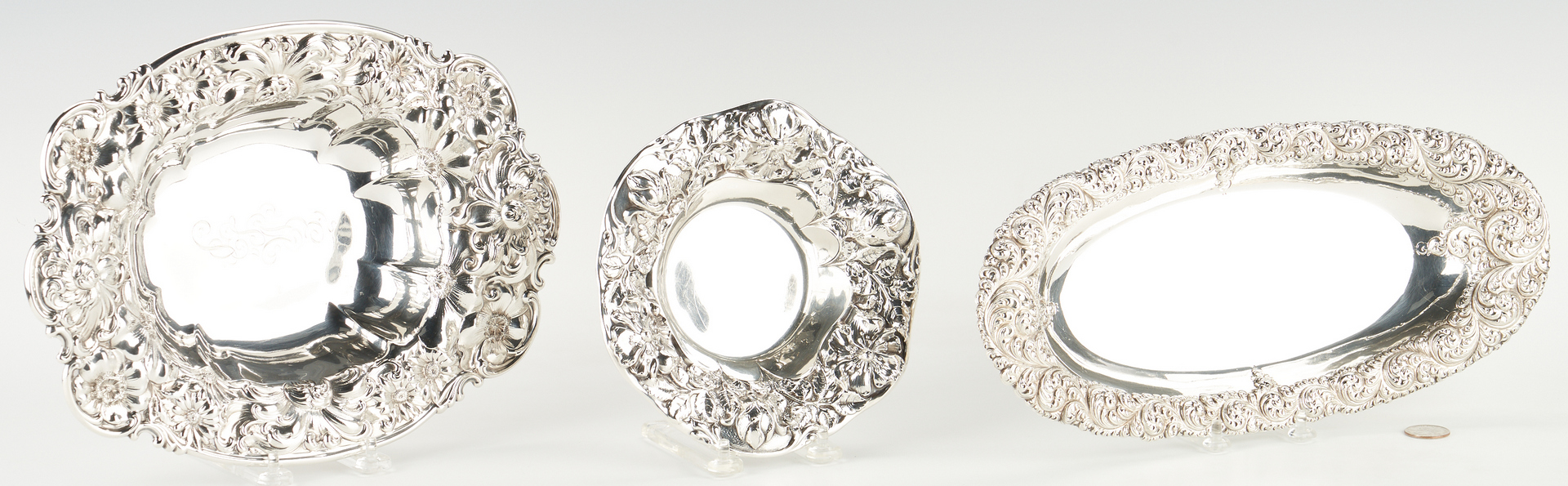 Lot 919: 3 Sterling Silver Trays w/ RepoussŽ Rims, Gorham & Whiting