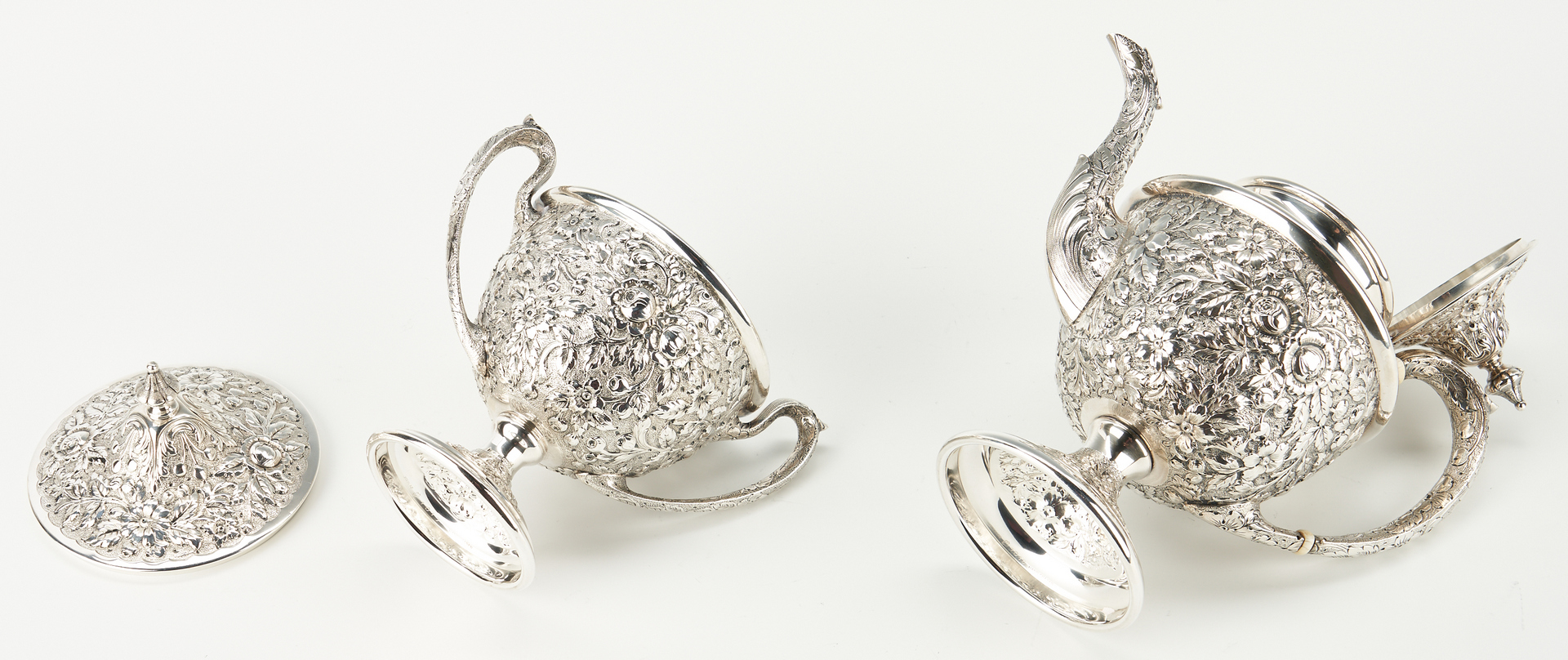 Lot 91: Baker Manchester Hand Chased Sterling Tea Set and Tray, 6 items