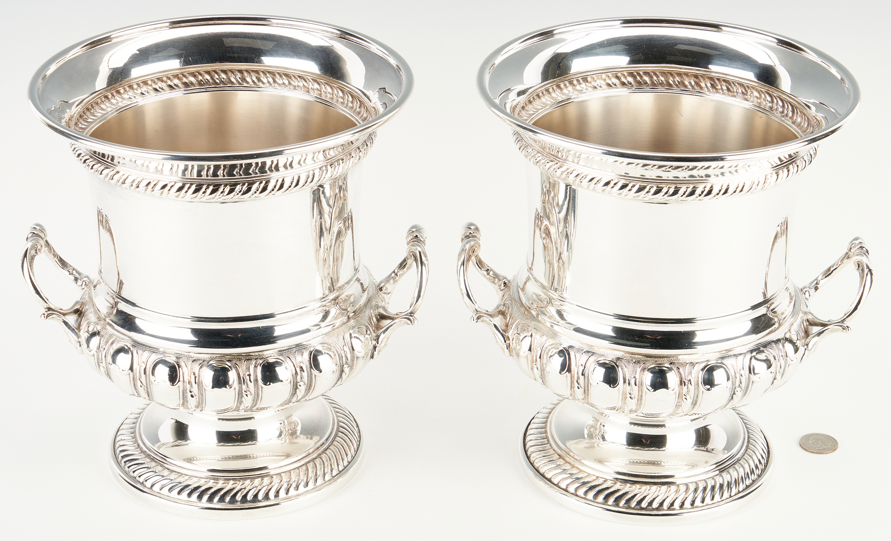 Lot 922: Pair of Regency Style Silver Plated Wine Coolers