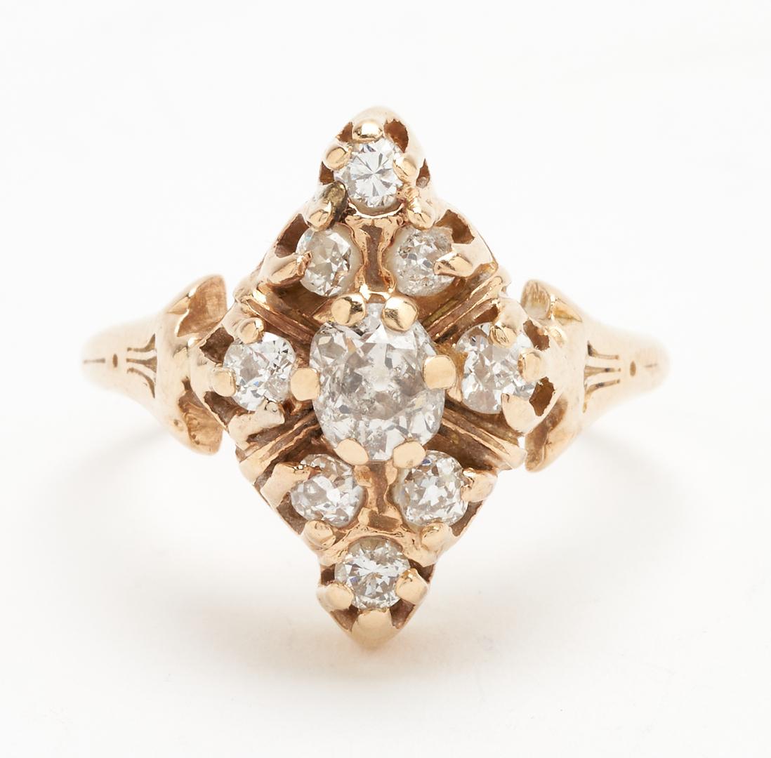 Lot 923: Ladies 14K Old Mine Cut Diamond Ring