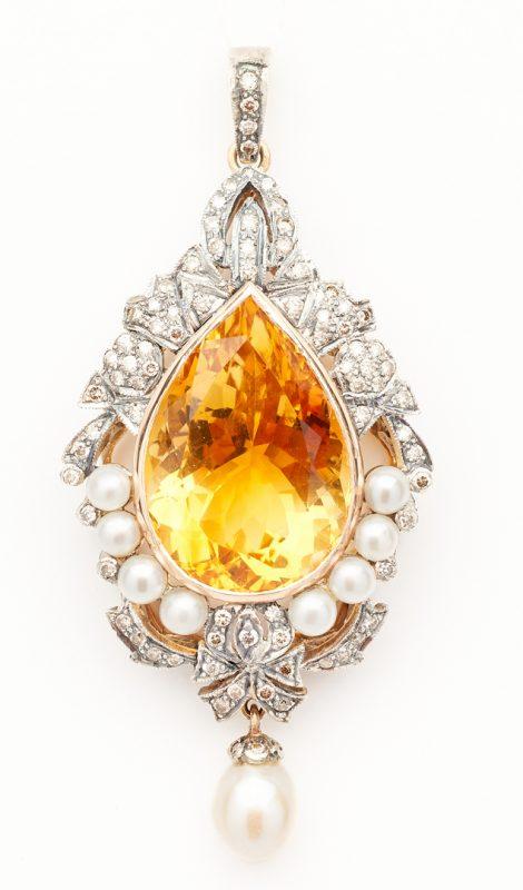 Lot 924: 18K & Sterling Pendant w/ 24C Citrine and Diamonds